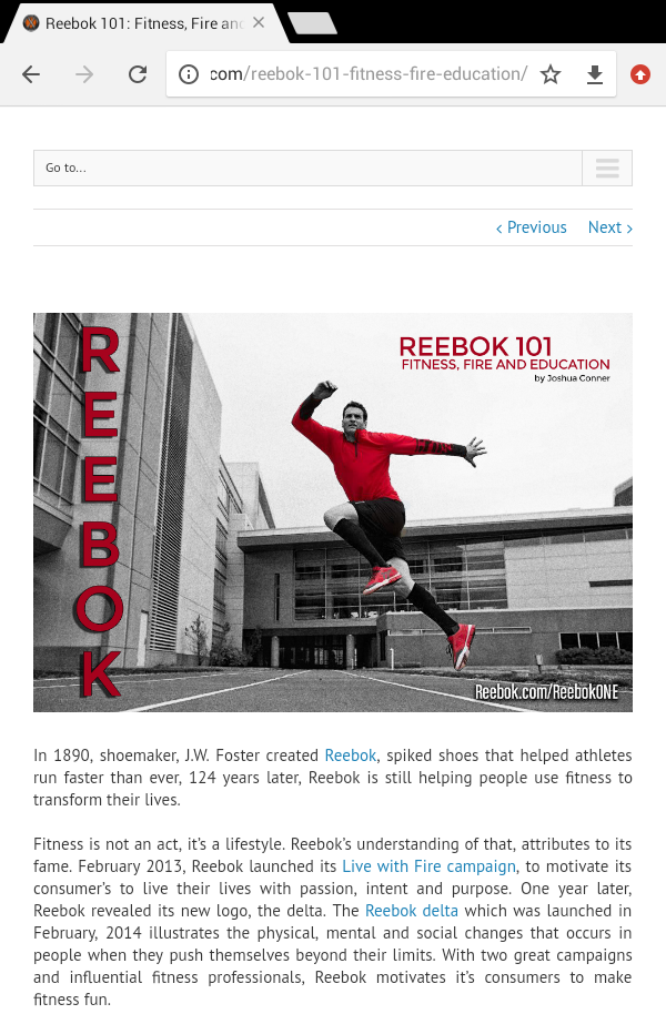 This is an article I did on the brand of Reebok